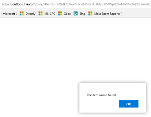 Outlook startup - the item wasn't found 2018-06 22nd.PNG
